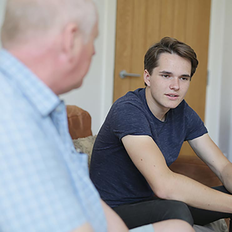 Heart to heart between foster carer and young person.